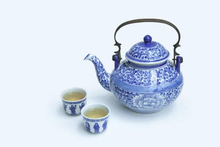 Chinese tea sets isolated on white  Banco de Imagens