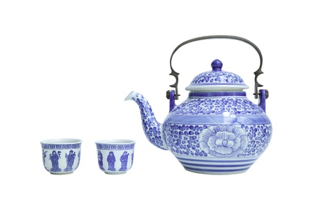 Chinese tea sets isolated on white  Stock Photo