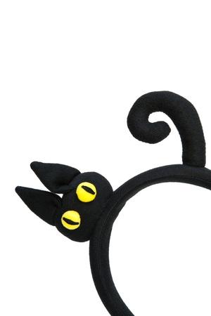 cintillos: Bandas para la cabeza del gato negro aislado en blanco
