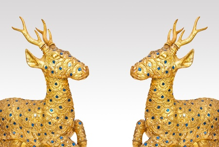 Golden deer sculpture isolated on white Stock Photo - 19871849