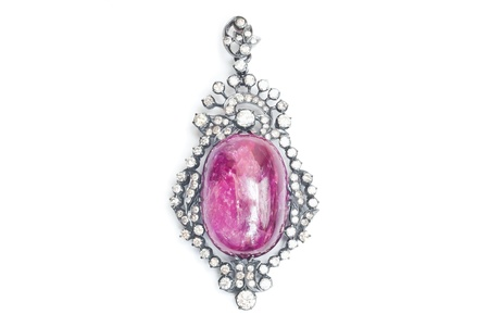 broach: Ruby Pendant with Diamond isolated on white