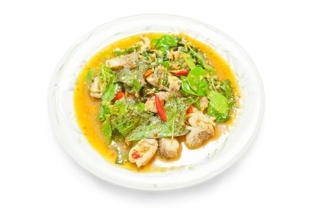 cernia: Spicy cernia fritto sulla piastra Archivio Fotografico