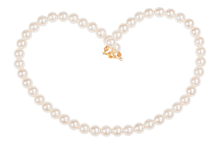 Pearl necklace isolated on white Banco de Imagens