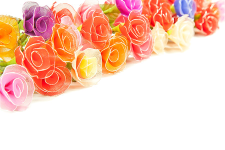 plastic made: Artificial handmade roses isolated on white