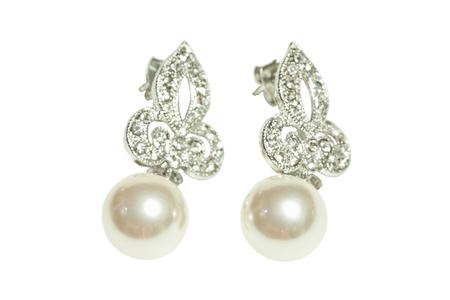 Pearl diamond earrings isolated on white