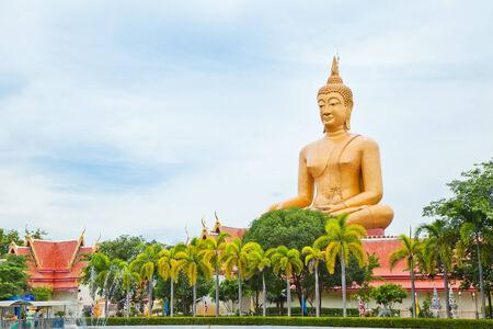staircases: Big Buddha in Wat Pikunthong Singburi Thailand