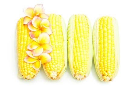 shucked: Corns and flowers isolated on white