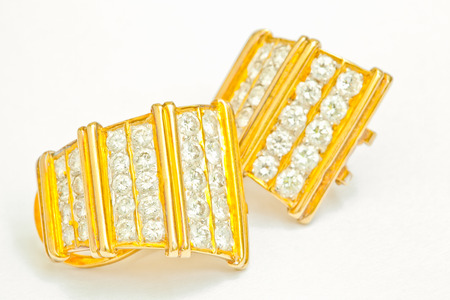 diamond earrings: Diamond Earrings isolated on white Stock Photo