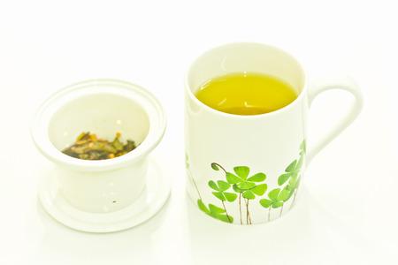 japanese green tea: Japanese green tea isolated on white Stock Photo