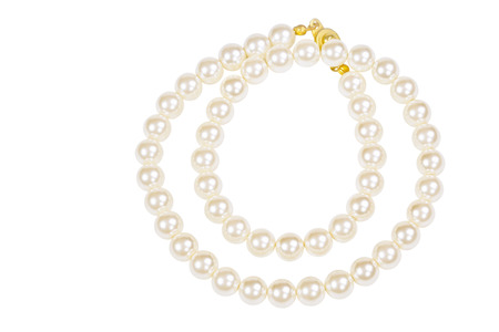 Pearl necklace isolated on white Stock Photo