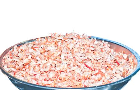 Dried shrimp isolated on white photo