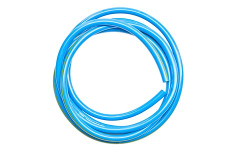 Blue water hose isolated on white
