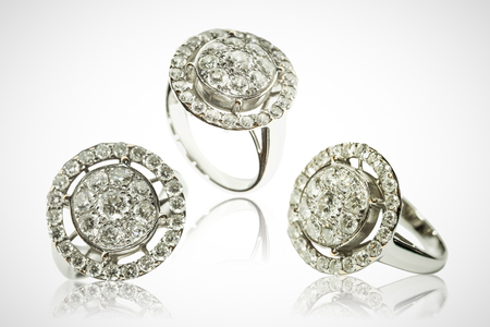 diamond rings: Three diamond rings on a white background