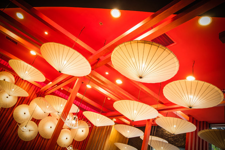 electric fixture: Umbrella lamp lighting and red wall