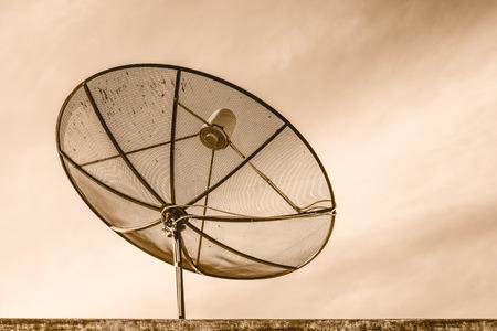 satellite tv: Satellite TV with blue sky