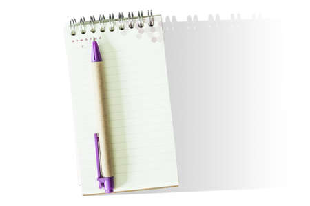 college ruled: Notepad and pen isolated on white