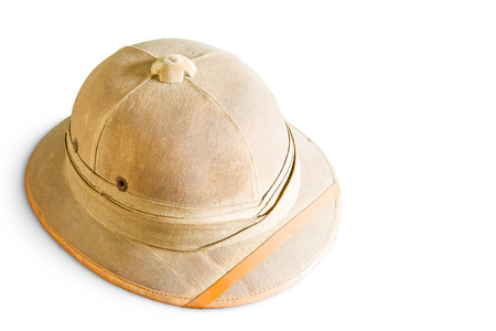 pith: Old pith helmet isolated on white Stock Photo