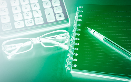 articulos de oficina: Business background with glasses and office items