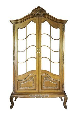 teakwood: Antique teakwood cabinet isolated on white Stock Photo