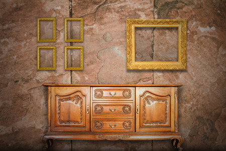 antique table: Antique cabinet wood and old picture frame