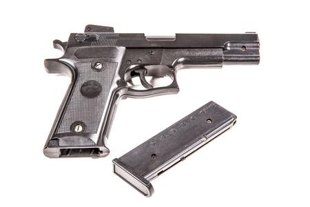 Airsoft hand gun isolated on white Stock Photo
