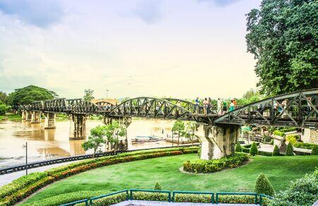 kanchanaburi: Old metal railroad bridge at Kanchanaburi Thailand