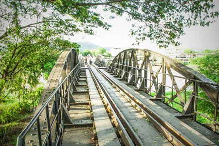 old metal railroad bridge at Kanchanaburi Thailand