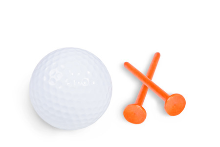 pursuits: Golf ball and tee isolated on white