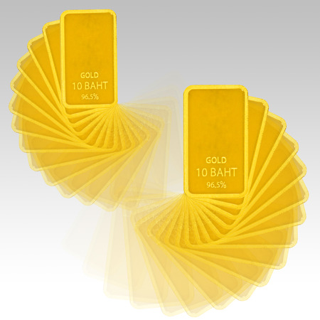Golden bars isolated on gray Stock Photo