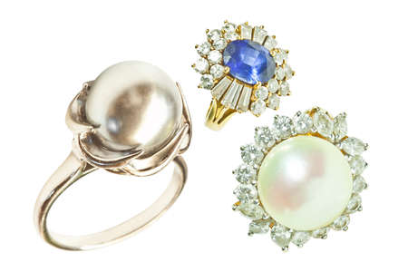 jewell: Pearl ring isolated on white Stock Photo