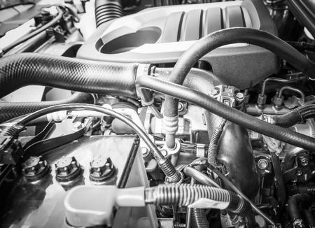 lite: Detail of diesel engine 1.9 lite under the hood of pickup truck