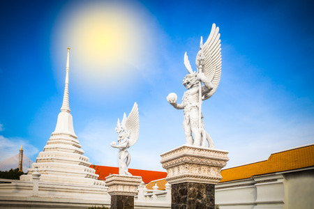 veneration: Thai statue located at Pariwat temple Bangkok Thailand Stock Photo
