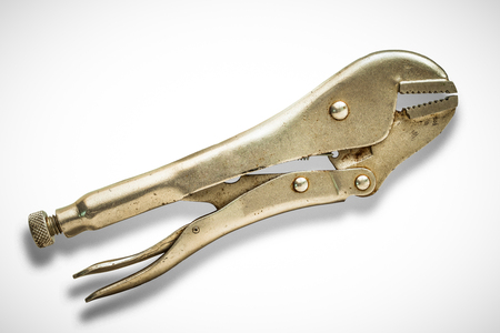 locking: Old locking pliers isolated on white