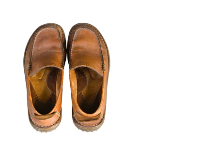 brogue: Old brown leather mens shoes isolated on white