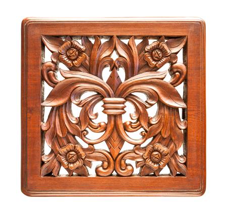 teakwood: Thai engraving teakwood isolated on white Stock Photo