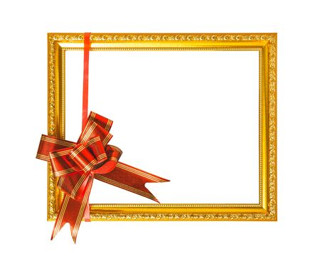 gloden: Gloden frame with red silky bow isolated on white