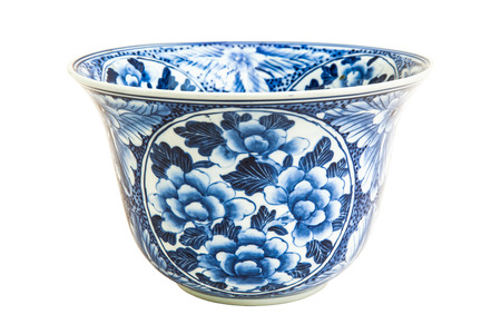 antique vase: Old chinese flowers pattern style painting on the ceramic bowl isolated on white
