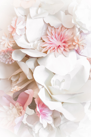 Decorative background from pink paper flowers Stock Photo