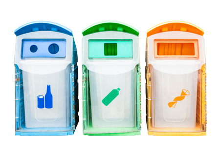 Colorful plastic bins for different waste types on white background Stock Photo
