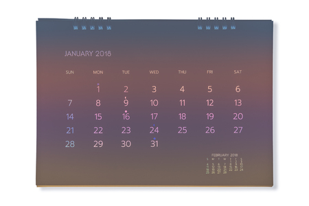 Calendar of January 2018 background Stock Photo
