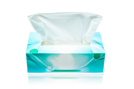 Tissue box mock up white tissue box blank label and no text for packaging 写真素材