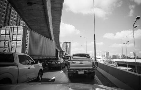 Traffic on the expressway at Kalpapruek road Bangkok Thailand, March 17, 2018