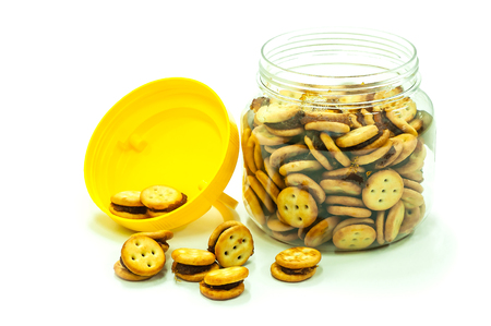 Mini biscuits pineapple cracker in a glass jar Stockfoto