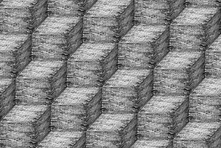 Brick steps wall pattern in black and white, Backgrounds Stock Photo