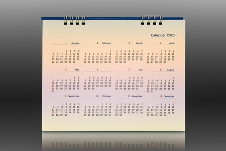 Calendar 2020 isolated on black, Backgrounds Imagens