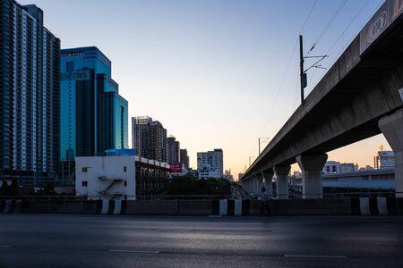 Bangkok metropolitan at sunset on Ekkamai road intersection with Petchburi road Bangkok Thailand, February 23, 2019
