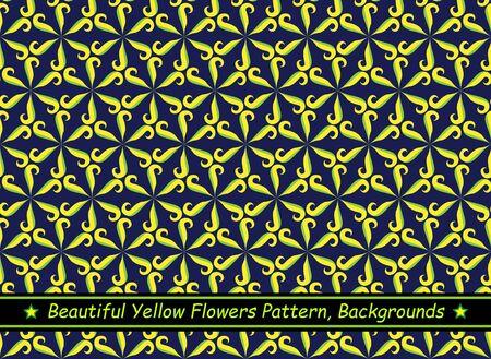 Beautiful Yellow Flowers Pattern, Backgrounds