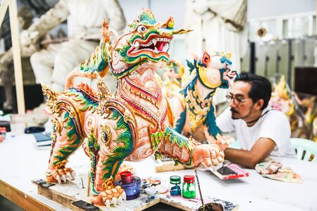 Artist painted on tiger statues in Thai literature at the Fine Arts Department, Sanam Luang, Bangkok, Thailand, September 14, 2017 報道画像