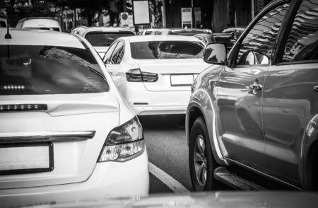 Rush hour - Cars stuck in traffic jam on Sathorn road Bangkok Thailand, Backgrounds