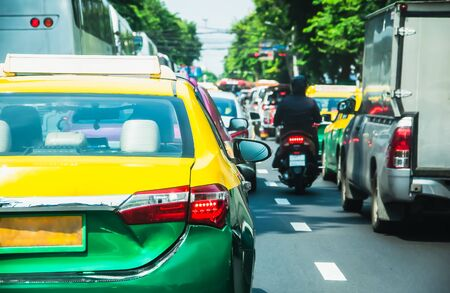 Rush hour -Traffic jam at Rama 4 road in Bangkok Thailand, Backgrounds